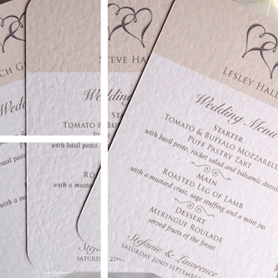 Individual menu wedding